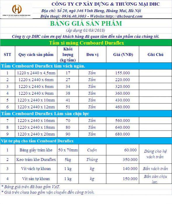 Báo giá tấm cemboard 2018 tại Hà Nội