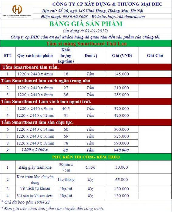Bảng giá tấm xi măng cemboard Thái Lan tại Hà Nội