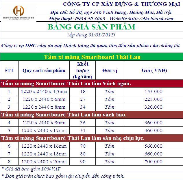 Bảng giá tấm xi măng cemboard Thái Lan 2018 tại hà Nội