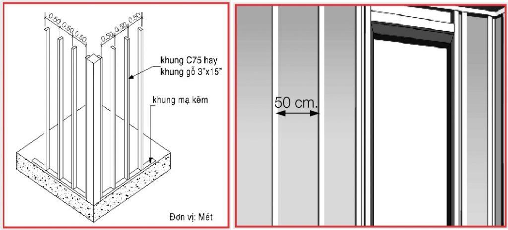 Hệ khung thi công ốp tường giả gỗ bằng tấm xi măng