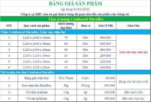 Báo giá tấm xi măng Cemboard Thái Lan 2018
