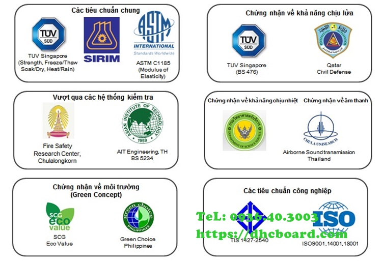 Bộ chứng nhận tiêu chuẩn của tấm xi măng giả gỗ Smartwood Thái Lan