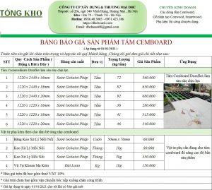 Giá tấm xi măng CEMBOARD rẻ nhất tại Hà Nội tháng 6/2021