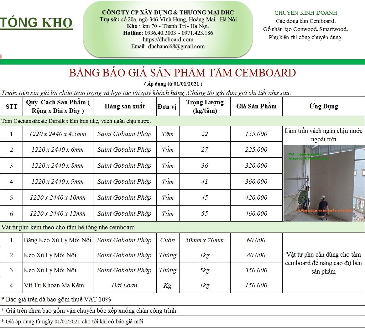 Giá tấm cemboard tại Hà Nội