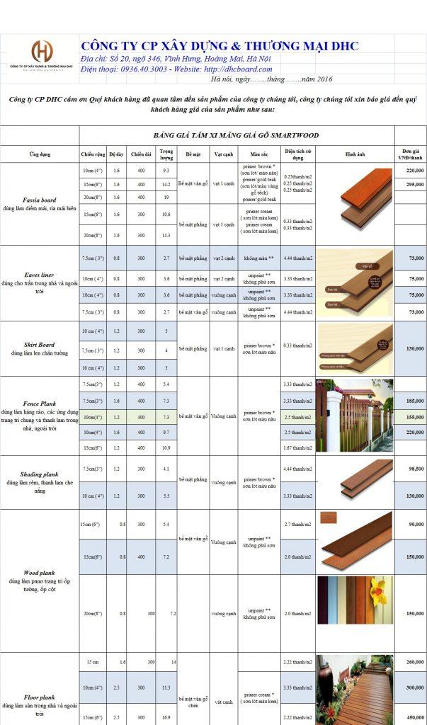 Báo giá gỗ nhân tạo Smartwood - Conwood 2017 cạnh tranh nhất