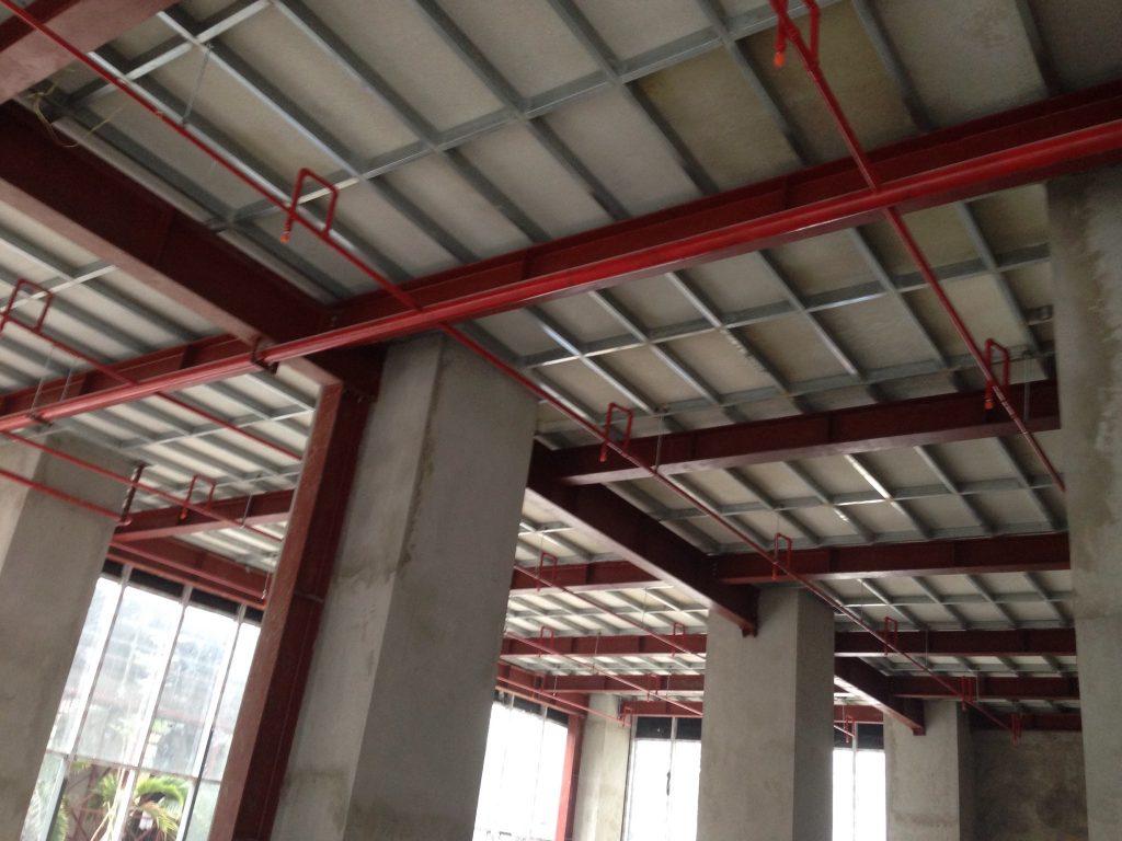 Tấm Duraflex làm sàn nhẹ trung tấm thương mại tòa nhà Golden Web Lê Văn Thiêm - Hà Nội