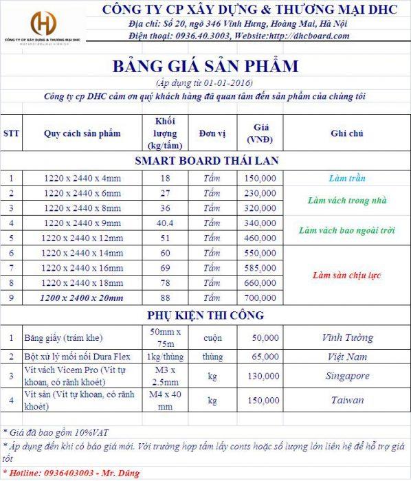 Bảng giá và tính năng của tấm xi măng cemboard Thái Lan