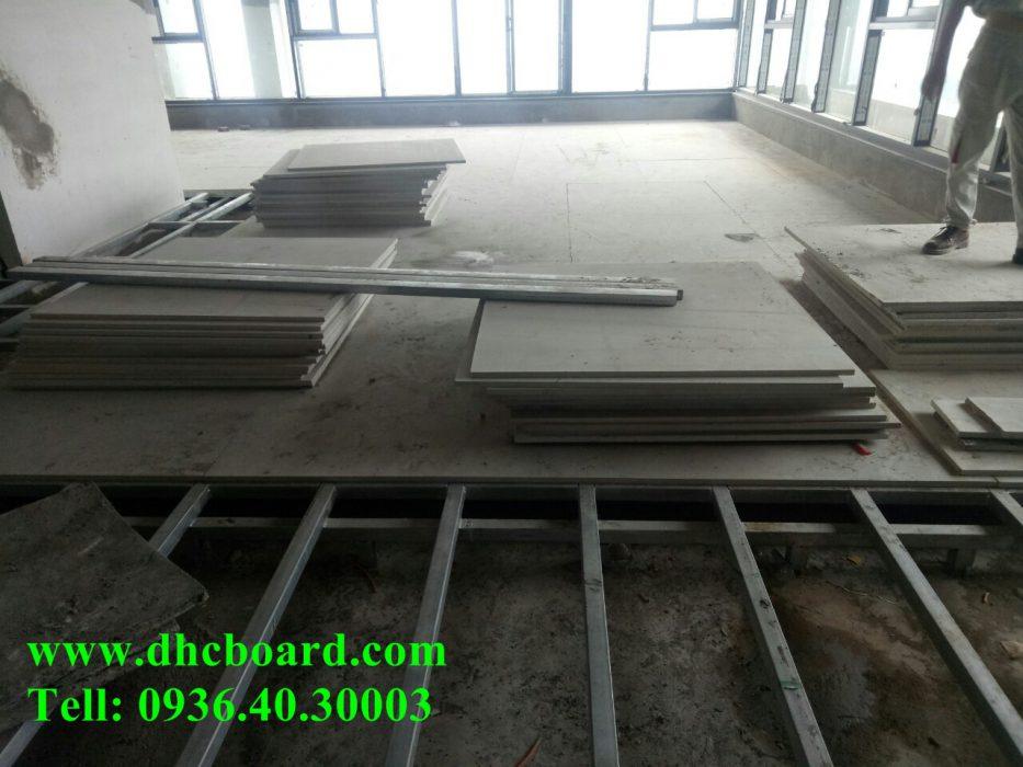 Làm sàn siêu nhẹ bằng tấm bê tông nhẹ cemboard Vĩnh Tường.