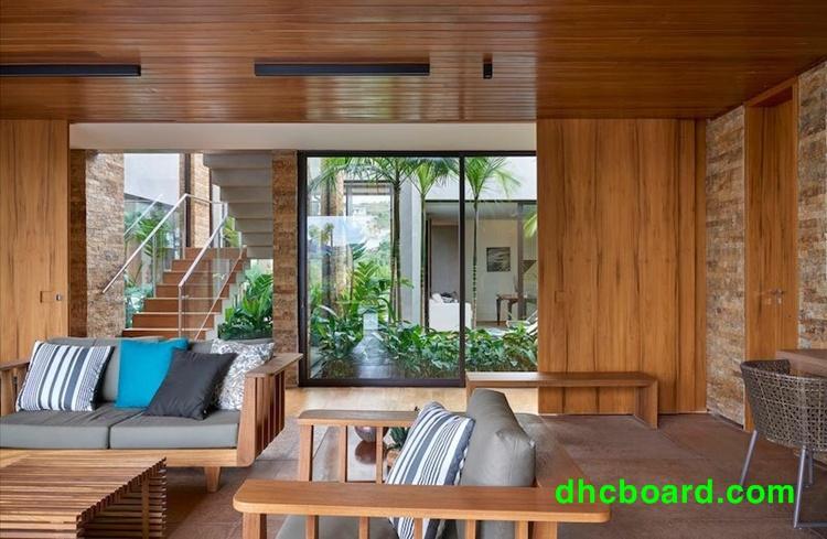 Ngôi nhà chở nên ấm cúng sang trọng nhờ sử dụng gỗ nhân tạo DUrawood.