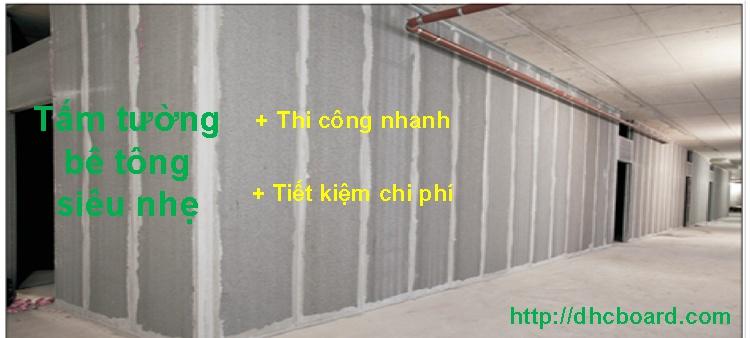 Tấm tường bê tông nhẹ được áp dụng một vài năm trở lại đây.
