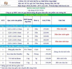Báo giá tấm xi măng CEMBOARD DURAFLEX 2020 tại Hà Nội.
