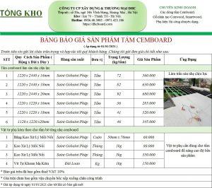 Báo giá tấm xi măng CEMBOARD DURAFLEX 2021 tại Hà Nội.